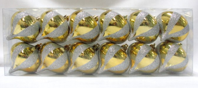 12pk Gold Onion Ornament with White Stripes