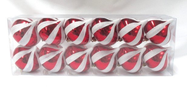 12pk Red Onion Ornament with White Stripes
