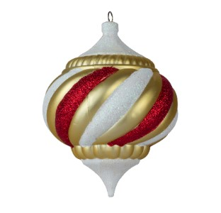 Gold White and Red 150MM Onion Ornament Treasure Collection