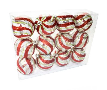 12pk Clear Ball Ornament with Red, Silver and Green swirl design