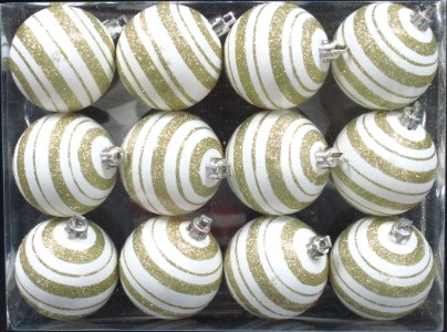 12 Pack Gold and White Ball Ornament with Line Design