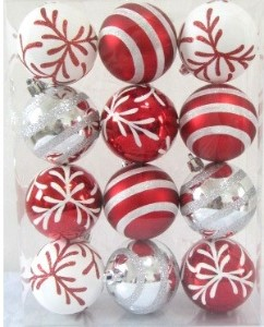 Red and White line design Ball Ornament with snowflake
