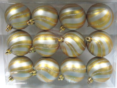 12pk Gold Ball Ornament with Silver Spiral Design
