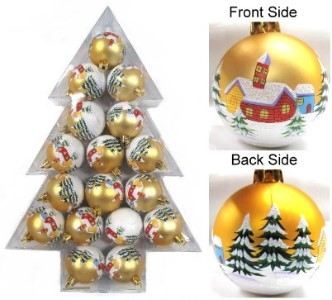 17 Piece Christmas Plastic Ball Ornaments