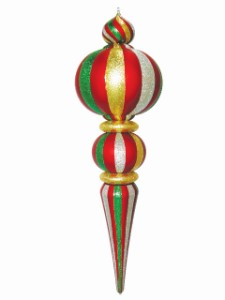 Green, Red, Gold and Silver Oversized Shatterproof Finial 53