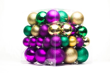 62PC Green, Purple and Gold Ball Ornaments