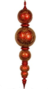 Red and Gold Oversized Shatterproof Finial 67.5