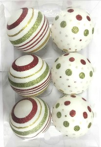 6pk White Ball Ornament with Gold, Red and Green Dot and Line Design