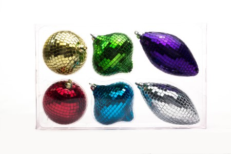 6 Pack Gold, Silver, Red, Blue, Green and Purple Mirrored Ornament Set