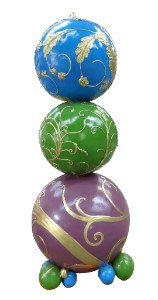 Purple, Green, Blue and Gold 6' Stacked Ornaments