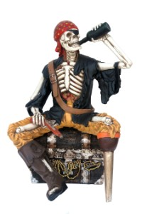 Skeleton 4.5' Pirate Sitting on Chest