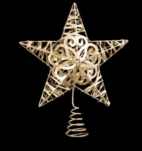 Metal Glittered Silver Star 10