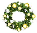 Pre-Lit 3' Sequoia Wreath Warm White LEDs Decorated with Treasure Collection