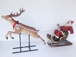 Reindeer Pulling Santa Claus in Sleigh Large Christmas Prop Display