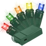 Battery Operated 5MM Conical Multi Color LEDs 50 Count Light Set on Green Wire