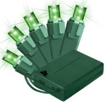 Battery Operated 5MM Green LEDs 70 Count Light Set on Green Wire