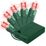 Battery Operated 5MM Conical Red LEDs 70 Count Light Set on Green Wire