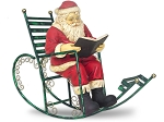 Santa Reading Book In Rocking Chair