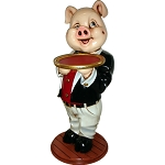 3' Comical Pig Butler Display