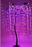 Purple and Orange LED Halloween Willow Tree 7'