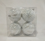 Silver and White Studded Ornaments 4 Pack