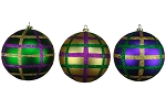GOLD, PURPLE & GREEN 100MM BALL ORNAMENTS 3PK