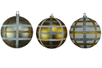GOLD, SILVER & WHITE 100MM BALL ORNAMENTS 3PK