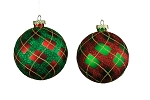 RED & GREEN 100MM BALL ORNAMENTS 4PK