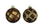 CHOCOLATE & GOLD 100MM BALL ORNAMENTS 4PK