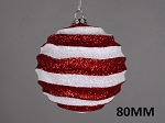 80mm Striped Red & White Wavy Ball Ornament