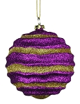 Purple & Gold Wavy Striped Ball Ornament 80mm