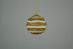 Gold & White Wavy Striped Ball Ornament 80mm