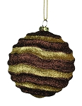 Chocolate & Gold Wavy Striped Ball Ornament 80mm