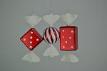 Red & White Candy Ornaments 3 Pack