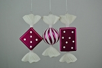 Fuchsia & White Candy Ornaments 3 Pack