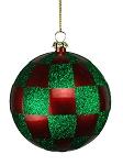 RED & GREEN CHECKERED BALL ORNAMENT 80MM