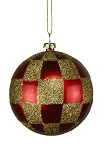 RED & GOLD CHECKERED BALL ORNAMENT 80MM