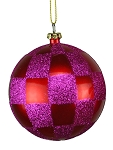 FUCHSIA & RED CHECKERED BALL ORNAMENT