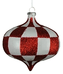 WHITE & RED CHECKER ONION ORNAMENT 80MM