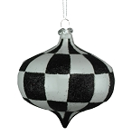 WHITE & BLACK CHECKER ONION ORNAMENT 80MM