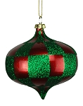 RED & GREEN CHECKERED ONION ORNAMENT 80MM