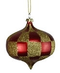 RED & GOLD CHECKERED ONION ORNAMENT 80MM