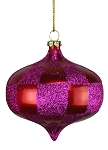 RED & FUCHSIA CHECKERED ONION ORNAMENT 80MM