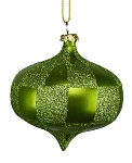 LIME GREEN & SAGE GREEN CHECKERED ONION ORNAMENT 80MM