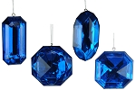 Blue Jewel Ornaments 4 Pack