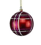 RED, FUCHSIA & WHITE 80MM STRIPED BALL ORNAMENT