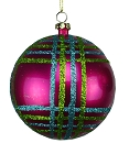 LIME GREEN, FUCHSIA & TEAL 80MM STRIPED BALL ORNAMENT