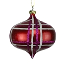 RED, FUCHSIA & WHITE 100MM STRIPED ORNAMENT