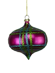 LIME GREEN, FUCHSIA & TEAL 100MM STRIPED ORNAMENT