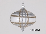 CHAMPAGNE & SILVER 100MM STRIPED GLITTER ORNAMENT
